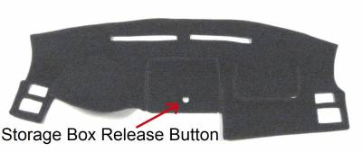 Ford Fusion dash cover showing cutout for storage box release button