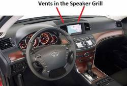 Dashboard showing position of AC vents in Speaker Grill