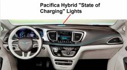 Pacifica Hybrid dash showing charging lights