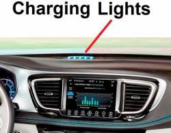 Pacifica Hybrid charging lights closeup