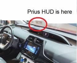 Prius optional HUD Heads Up Display location