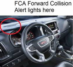 GMC Canyon dashboard with Optional FCA Forward Collision Alert