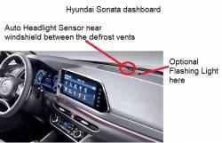 Hyundai Sonata dashboard showing Headlight sensor and flashing light positions